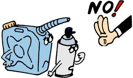 jerry: the human hand shows no to jerry can and spray can