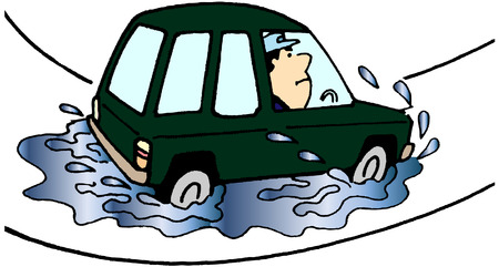 the man had got in flood on his car Stock Vector - 6292863
