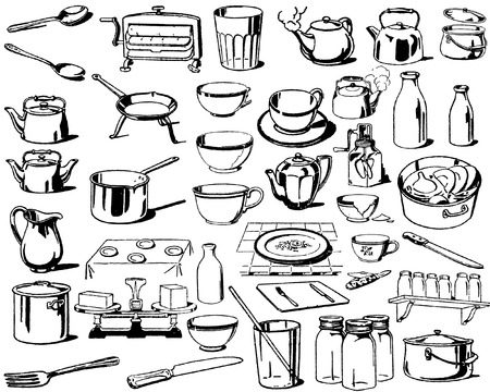 the collection of dishes` silhouettes Illustration