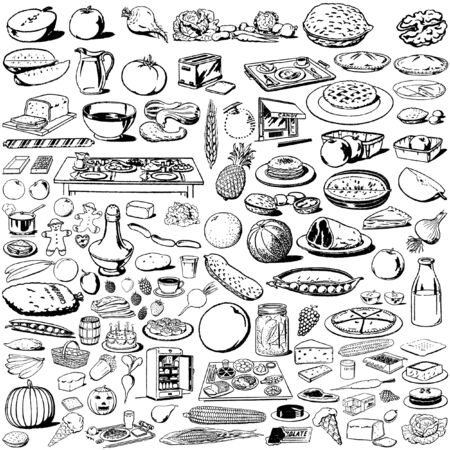 the collection of food`s silhouettes Vector