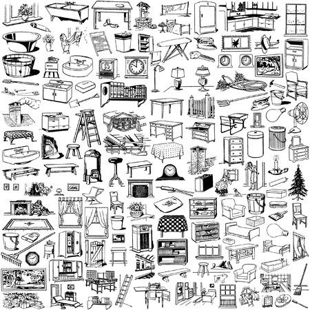 la colección de la siluetas de casa cosas  Ilustración de vector