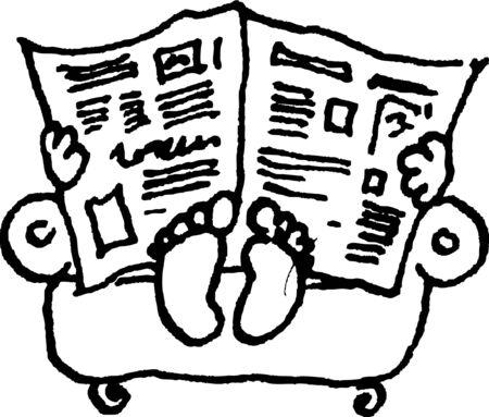 en lisant le journal