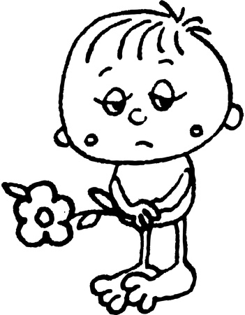droevige jongen met bloem