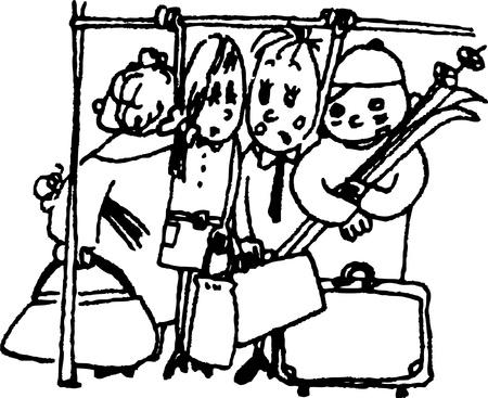 conveyances: jam in public conveyances Illustration