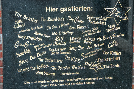 The memorial stone of the historical Star Club at the place where the club was at Grosse Freiheit. Hamburg, St. Pauli, Germany, 08.17.2010