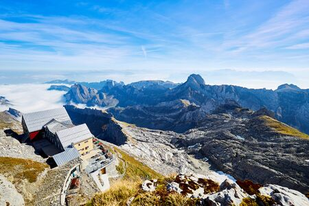 Mountain hut on the Säntis and view of the surrounding Alps