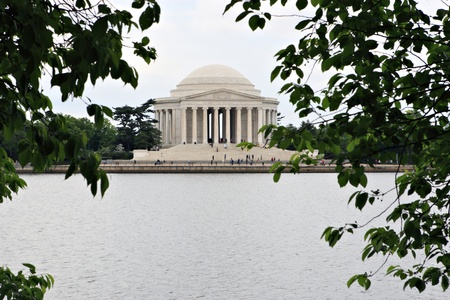 thomas: Jefferson Memorial in Washington DC, shot from across the Tidal Basin with Leaves in the Foreground
