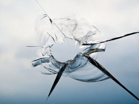 windscreen: Shattered Window after an Accident Stock Photo