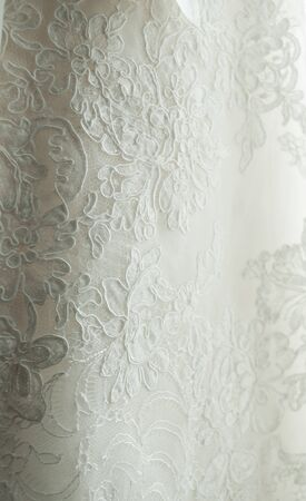 stitching: Stitching Detail on a Brides Gown Stock Photo