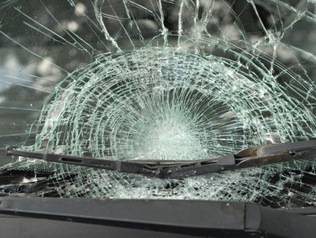 Insurance Theme: Shattered Glass Window of a Car after an Accident 스톡 콘텐츠