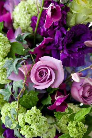 Bunch of Green Leaves and purple roses