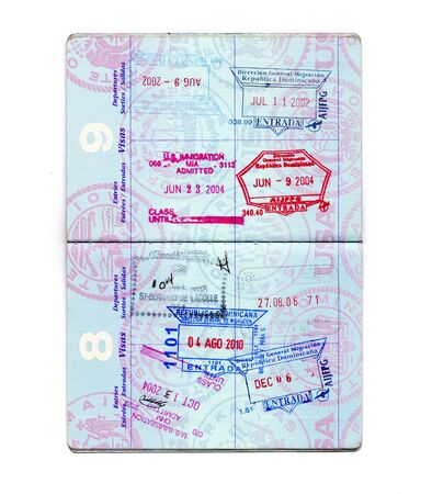 United States Passport Pages with Stamps isolated on white Stock fotó