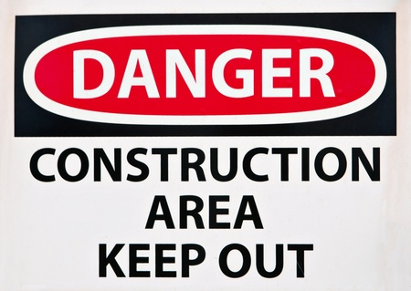 construction signs: Keep Out Sign at the Entrance of a Construction Site Stock Photo