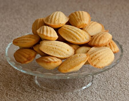 Tray of fresh, homemade French Madeleines photo