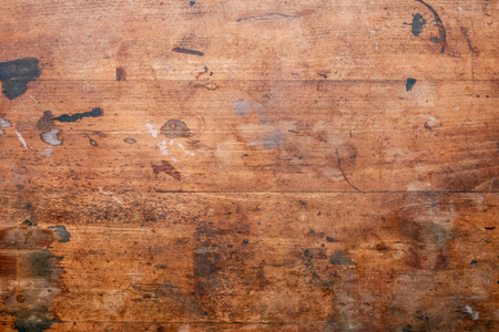 Old used wooden Surface of a workbench Stock Photo