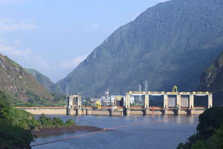 AGOYAN, ECUADOR - FEBRUARY 18, 2014  The Agoyan hydroelectric power plant at the River Pastaza on February 18, 2014 close to Banos, Ecuador