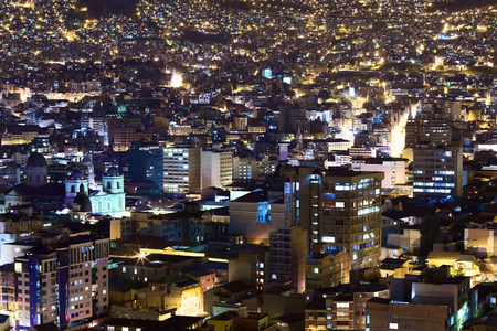 murillo: View over the city center of La Paz, Bolivia at night. On the left side the Metropolitan Cathedral on Murillo Square can be seen.