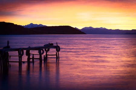 Sunrise over Lake Titicaca in the bay of Cha photo