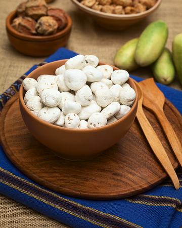 durable: Tunta, also called white chuno or moraya, is a freeze-dried (dehydrated) potato made in the Andes region, mainly Bolivia and Peru. The potato is durable for a long time this way. Tunta and chuno are used in many traditional dishes in Bolivia (Selective Fo Stock Photo