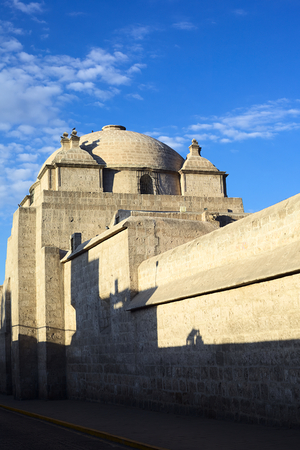 unesco world cultural heritage: The outer walls of the Monasterio de Santa Catalina (Monastery of Saint Catherine) on Santa Catalina Street in the city center of Arequipa, Peru. Arequipa is an UNESCO World Cultural Heritage Site.