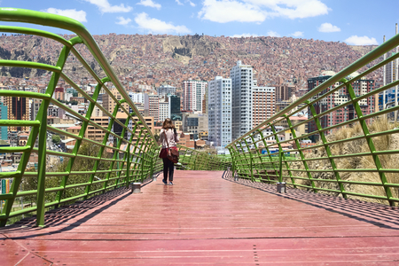 balcon: LA PAZ, BOLIVIA - OCTOBER 14, 2014: The pedestrian Via Balcon (Balcony Path) (about 3 kms long) over the Parque Urbano Central (Central Urban Park) built to enjoy the view of the city photographed on October 14, 2014 in La Paz, Bolivia