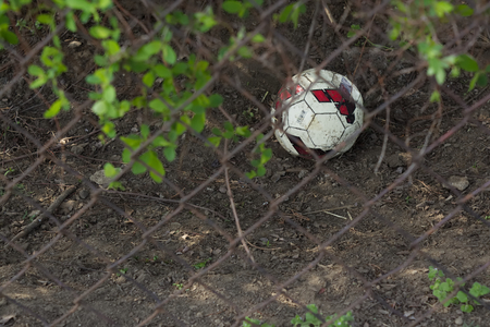 Old childrens football ball lost and hidden in the bush. Stockfoto