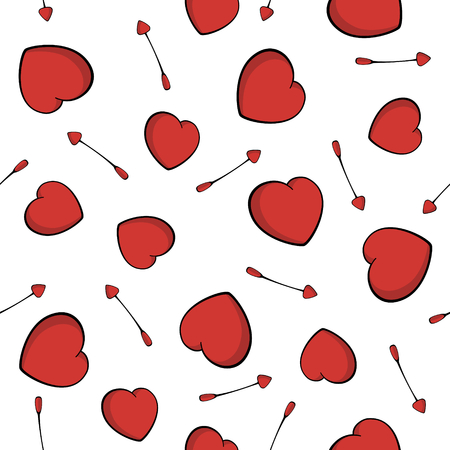 Cupid's arrows seamless pattern. Heart love symbol. Cute arrows and hearts background for Valentine's Day. Isolated