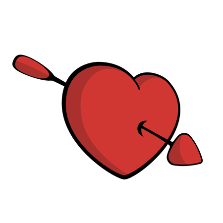 Red heart pierced with arrow, falling in love Vector Imagens - 122805311