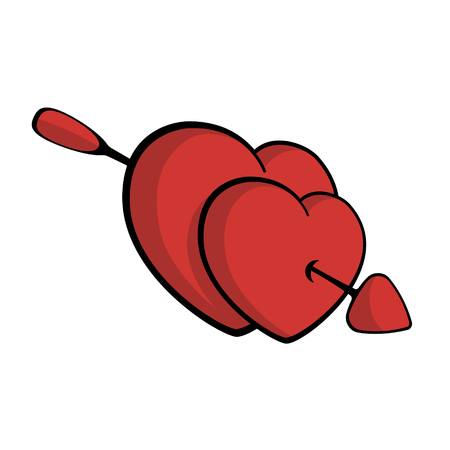 Two red hearts pierced with arrow, falling in love Vector