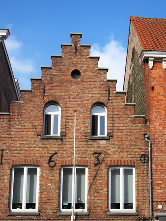 A house from 1630. Typical for Bruges medieval stepped architecture.