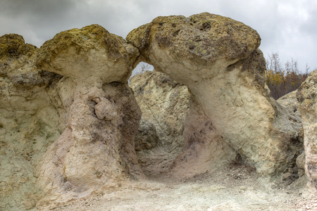 The Kiss. The natural phenomenon Rock mushrooms near the village of Beli Plast in the Rhodope Mountains. Фото со стока