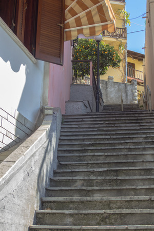 The architecture of Kavala. A small street of stairs.