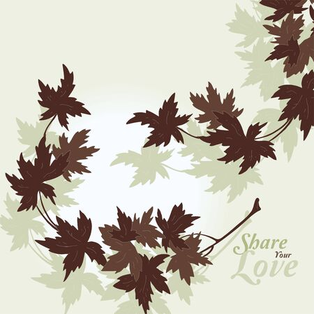 Love Flowers Elegant Card in Japanese Style  Vector
