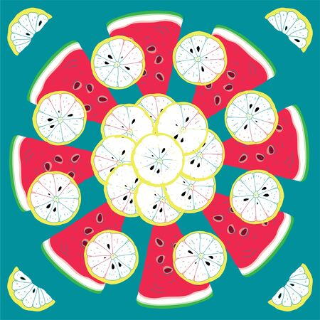 Fresh Seamless Fruit Citrus Pattern With Lemon s and Watermelon s Pieces  Vector