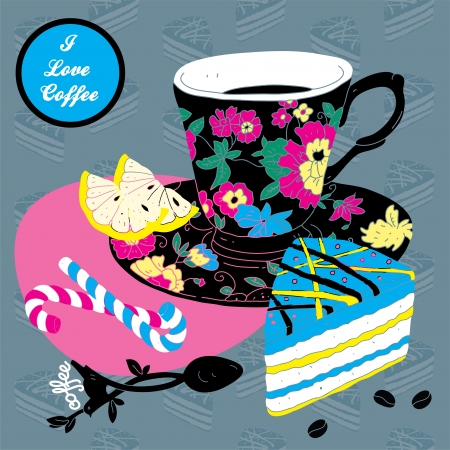 Elegant Cup of Coffee Card Illustration With Spoon Lemon and Cake Stock Vector - 15304090