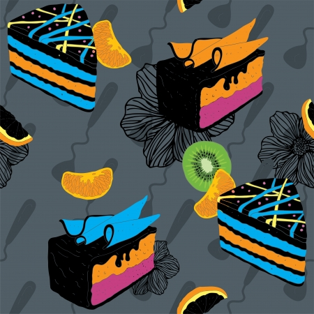 Cakes Seamless Pattern With Spoon Kiwi and Orange  Vector