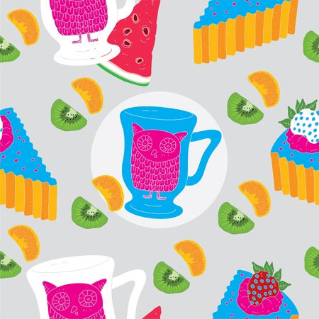 Cakes and owl tea cup Seamless Pattern With Kiwi and Orange  Illustration