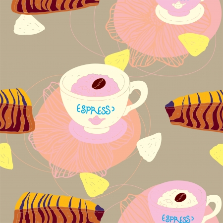 Cakes Seamless Pattern With Coffee Cups and Pineapple  Illustration