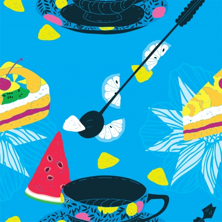 Cakes Seamless Pattern with Coffee Cup, Watermelon, Lemons and Pineapple  Stock Vector - 15304032