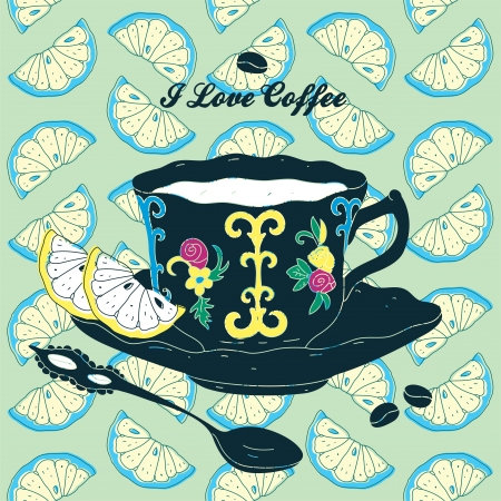 Elegant Cup of Coffee Card Illustration With Spoon and Lemons  Illustration