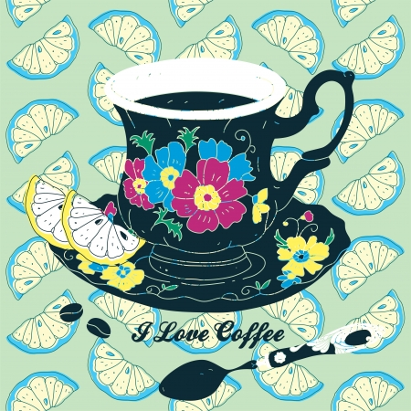 Elegant Cup of Coffee Card Illustration With Spoon and Lemons  Stock Vector - 15304071