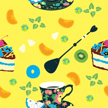Cakes Seamless Pattern with Coffee Cup, Flowers, Oranges, Kiwi and Pineapple  Vector