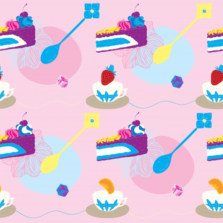 Cakes Seamless Pattern With Coffee Cups and Fruits  Vector