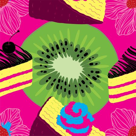 Fresh Seamless Fruit Futuristic Pattern With Cakes, strawberries and Kiwi  Vector