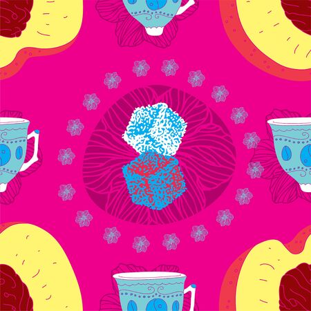 Fresh Seamless Fruit Futuristic Pattern With Coffee Cups, Peaches and Sugar  Vector