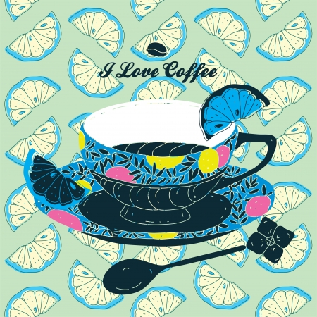 comfort food: Elegant Cup of Coffee Card Illustration With Spoon and Lemons  Illustration