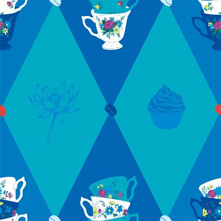Coffee Cup Seamless Pattern with Spoon, Lotus, Kiwi and Coffee Beans  Vector