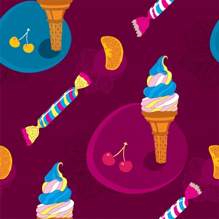 Ice Cream Seamless Pattern With Candy and Fruits  Vector