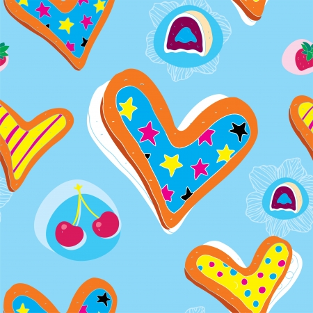 Heart Cookies Pattern With Candy and Cherry  Vector