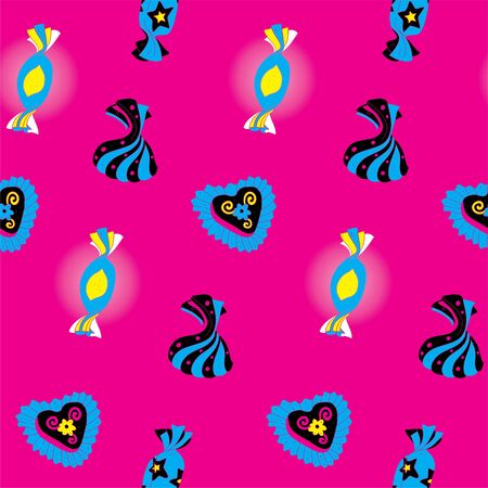 Candies Bright Seamless Pattern  Vector